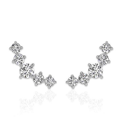Pendientes de cartílago de diamante redondo certificado IGI de 0,52 ct, juego de puntas HI-SI de oro curvado trepador, Helix Tragus Piercing de regalo,18K Oro blanco, Par
