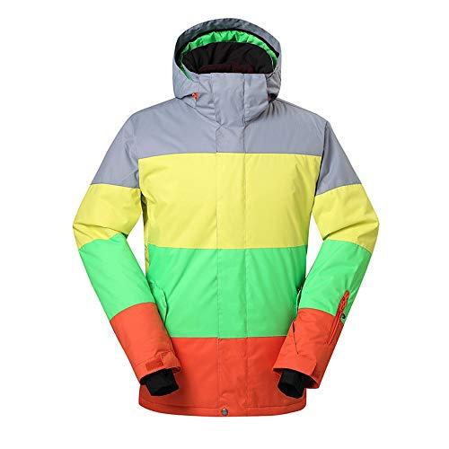 BGROESTWB Traje de esquí para hombre de montaña, impermeable, chaqueta de esquí de invierno, resistente al viento, abrigo cálido para invierno grueso (color: verdadero color, talla: L)