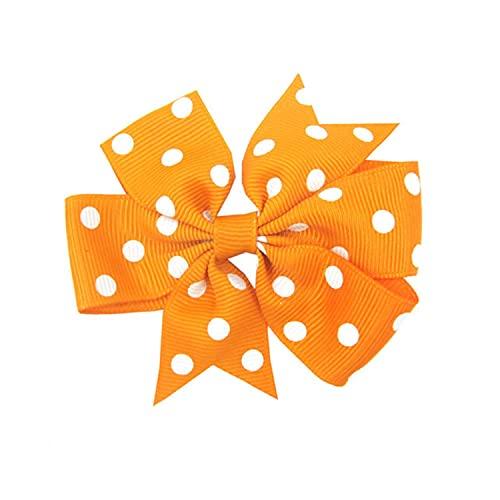 20PCS 8CM Baby Kids Dot Print Ribbon Small Bowknots Hair Clips Children Girl DIY Barrettes Headwear Party Fashion Accessories