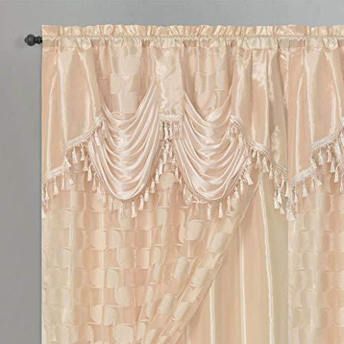 Circle Cycle. Clipped Voile. Voile Jacquard Window Curtain Drape with Attached Fancy Valance and Taffeta Backing. 2pcs Set. Each pc 54 inch Wide x 84 inch Drop + 18 inch Valance. (Coffee)