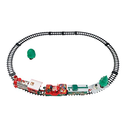 NUOBESTY Weihnachtszug mit Lichtern und Sound Eisenbahnschienen setzt Lokomotive unter dem Baum elektronisches Spielzeug (Keine Batterie)
