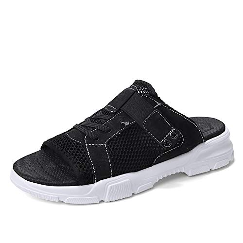 cicongzai Zapatos de Cuero para Hombre de Verano Hechos a Mano Sandalias Top Capa Retro Zapatos de Cuero Zapatillas Moda para Hombre Zapatos de Cuero Casual (Color : Black, tamaño : 42 EU)