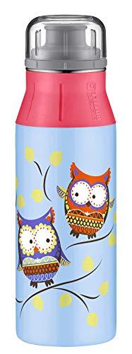alfi Edelstahl-Trinkflasche elementBottle 600ml Eule blau, Edelstahlflasche für Kinder auslaufsicher bei Kohlensäure, 5357.115.060 spülmaschinenfest, BPA Frei, Flasche für Schule und Sport