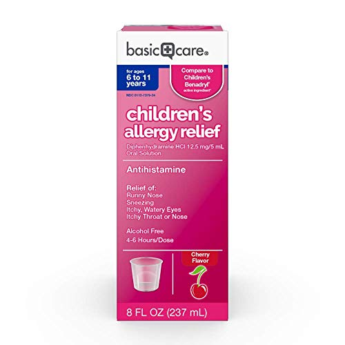 Amazon Basic Care Children's Allergy Relief, Diphenhydramine HCl 12 5 mg 5 mL Oral Solution, Antihistamine, Cherry Flavor, 8 Fluid Ounces