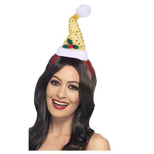 Weihnachtsstirnband Kostüm Dasongff Weihnachtself Hut Stirnband Weihnachten Kopfschmuck Weihnachtsmütze Mini Santa Hut mit Bommel auf Haarreif
