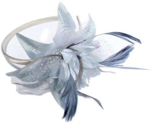 Neuf Femmes mariée étroit satiné Serre-tête avec Plumes et Fleur Bibi. Disponible en Rose, Gris, crème et Noir Couleurs. (Gris)