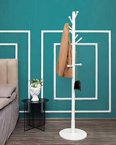 Wooden Coat Rack Stand, Heavy Duty, Sturdy Free Standing Hall Tree Coat Tree Hallway/Entryway Coat Hanger with 11 Hooks, Round Base, for Coat, Hat, Clothes, Scarves, Handbags, Umbrella (White)