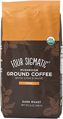Four Sigmatic Mushroom Ground Coffee, Organic and Fair Trade Coffee with Lions Mane, Chaga, & Mushroom Powder, Focus & Immune Support, Paleo, 12 Oz