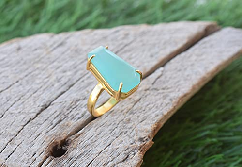Coffin Ring - Aqua Chalcedony Ring * Halloween Gifts * Rings for Girls * Bridal Rings * Statement Rings * Gemstone Rings * Boho Rings, Minimalist Rings, Rings for Women, Birthday Gifts - VR-378