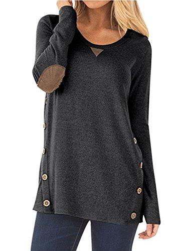 NICIAS Damen Seitliche Tasten Langarmshirt Pullover Lässige Rundhals Sweatshirt...