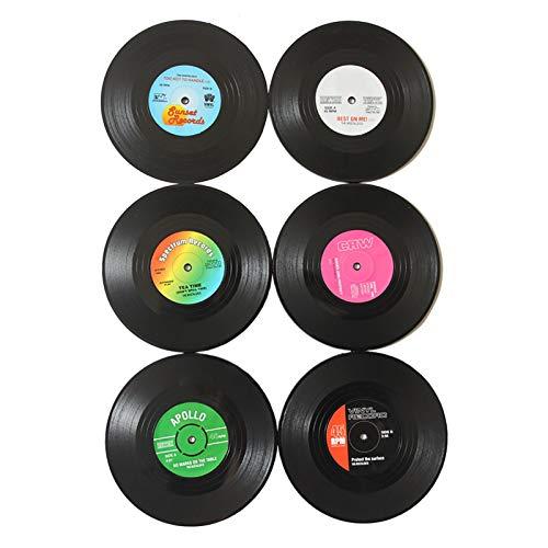 Juego de 6 posavasos de vinilo con forma de disco de vinilo, estilo retro, para cortar discos antideslizantes, de disco redondo