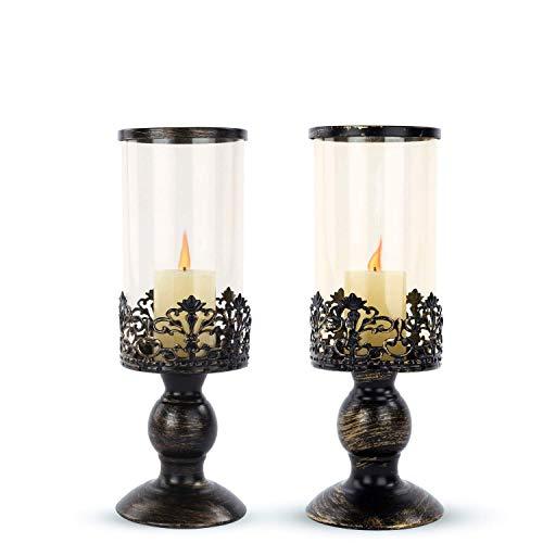 Zhu 2PCS Creative European Candle Holders, Candlelight Dinner Wedding Romance Candlestick, Wrought Iron Glass Decorative Lighting Candelabra Decorations Zhu (Color : B)
