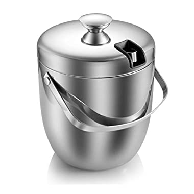 MSK Double Walled Stainless Steel Cooler Ice Bucket 2.8 L/ 2.7 Quart with Tongs and Lid, Silver
