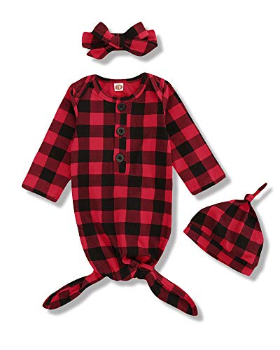 Newborn Baby Gown Nightgown Christmas Clothes Plaid Sleep Gowns with Hat Headband Baby Boy Girl Christmas Outfits Set