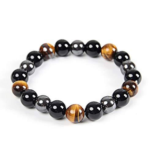 yitao Pulsera ojo de tigre y hematita y piedra obsidiana negra pulsera hecha a mano joyería DIY