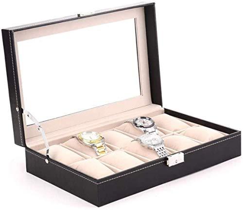 Yxxc Almacenamiento Reloj Caja de Cuero Organizador Reloj Cristal Joyas Vitrina Estilo Vintage 30 * 20 * 8 CM (Color: Negro, Tamaño: 30X20X8 CM)