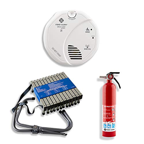 First Alert SA511CN2-3ST Interconnected Wireless Smoke Alarm with Voice Location, Battery Operated, Pack of Two with Home Fire Extinguisher and Fire Escape Ladder