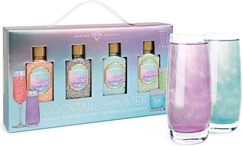 Modern Gourmet Foods - Cocktail Shimmer für Gin & Prosecco - 4 x Essbares Glitzer mit Geschmack für Party-Getränke