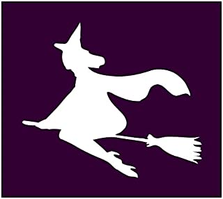 Auto Vynamics - STENCIL-WITCH-03 - Pretty Witch Flying On Broom Individual Stencil from Detailed Witches & Witchcraft Stencil Set! - 10-by-9-inch Sheet - Single Design