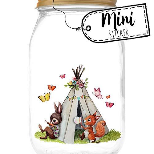 ilka parey wandtattoo-welt Mini Sticker Aufkleber Eichhörnchen Hase mit Zelt Schmetterlinge - wiederverwendbar - Fensterdeko Fensterbilder Frühling Deko Dekoration bf48mini