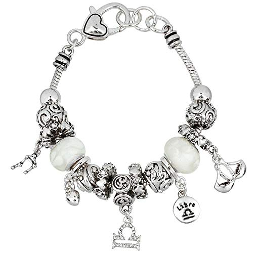 Falari Zodiac Charm Bracelet Multi-Color Slide Metal Murano Beads Silvertone (Style 2 - Libra (Sep 24 - Oct 23))