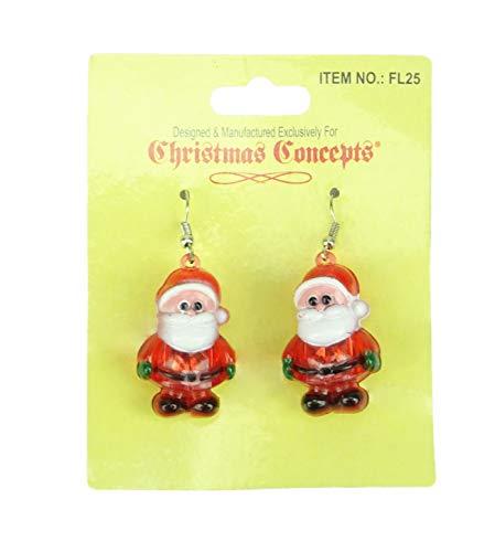 Christmas Concepts Light Up Christmas Earrings - Flashing Jewelry - Novelty Christmas Dress Up (SANTA)
