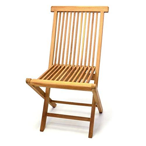 DIVERO Klappstuhl Teakstuhl Gartenstuhl Teak Holz Stuhl für Terrasse Balkon Wintergarten witterungsbeständig behandelt massiv klappbar natur