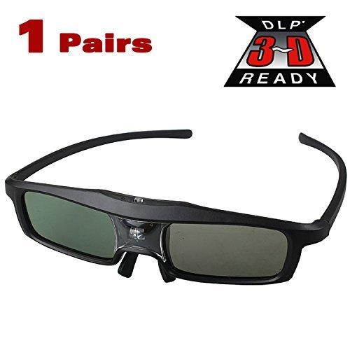 Cowcool Black Shutter 3D Glasses Active 144Hz Rechargeable for All DLP Link Projector&TV, SamSung, Benq, Acer, Viewsonic, Optoma, Sharp, Mitsubishi, Nvdia, Sony, LG, Panasonic, Vivitek, Dell, Nec