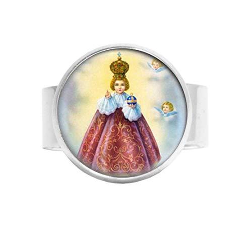 Anello cattolico di Gesù di Praga. Medaglia cristiana cattolica. Charm Jewelry vetro foto gioielli