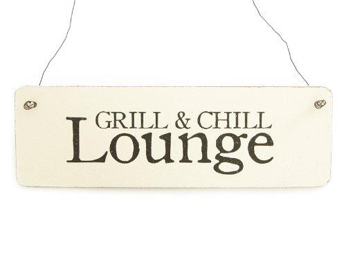 Interluxe Shabby Vintage Schild Türschild Grill & CHILL Lounge Dekoschild Holzschild Garten Terrasse