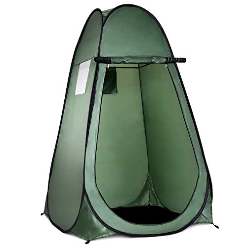 GOPLUS Pop up Duschzelt, Umkleidezelt Camping, Toilettenzelt Mobile, Lagerzelt Tragbar, Faltzelt 120 x 120 x 190cm (Grün)