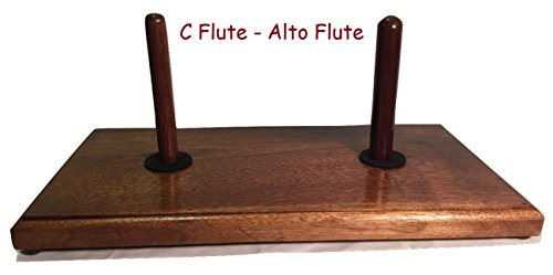 Double Flute Stand Solid Walnut (Double Base with C Flute & Alto Flute Peg)
