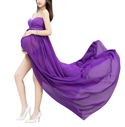 Happy Cherry Accesorios de Fotografía Embarazo Ropa de Maternidad Maxi Vestido de Gasa Photography Props para Mujeres Embarazadas - Púrpura
