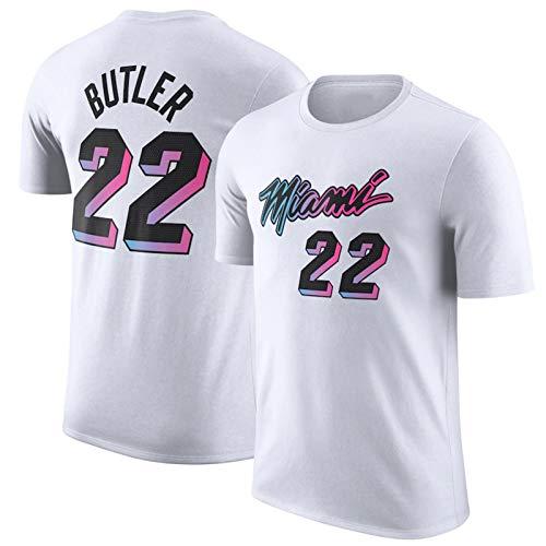 CNMDG Miami Heat 22# Jimmy Butler Camiseta de Baloncesto para Hombre, 2021 New Temporada White City Edition de algodón Manga Corta Deportiva Jersey de Baloncesto, Tela TR M