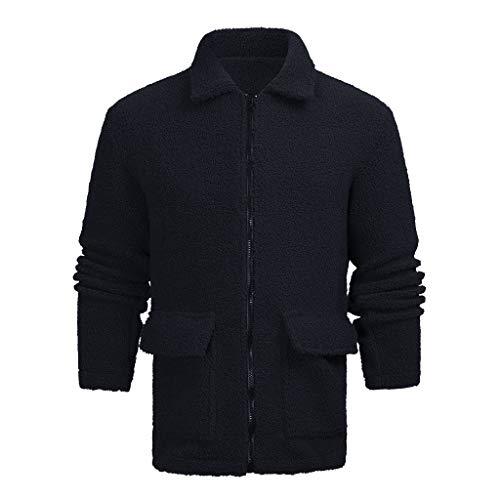 MAYOGO Herren Fleecejacke Winterjacke Zip Revers Winter Wolle Sweatjacke Wollfleece Herrenjacke Fleece Jacke Mantel (Dunkel Grau, M)