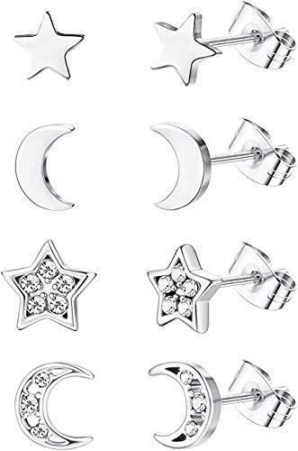 Milacolato 4 pares de pendientes de acero inoxidable con diseño de estrella y luna para mujer, circonita cúbica, para orejas perforadas dobles.