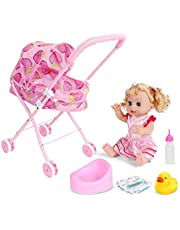 4PCS / SET Babydoll voor wandelwagen opvouwbare Pram Gift Set Met Baby Doll Printing Cartoon Ontwerp kinderwagen Met Gift For Dolls (Strawberry Car) Children's Gifts
