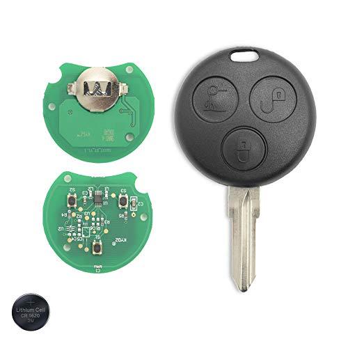 1neiSmartech Chiave Guscio Telecomando Ricambio Compatibile con Smart 450 Fortwo Forfour 3 Tasti Frequenza 433 Mhz Chiave Completa di Chip Trasponder Lama e Batteria 3V