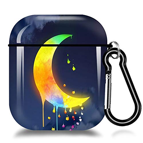 Case for Airpods1&2 Cute Watercolor Moon Design Airpod Case Hard Skin Case Protive Shockproof Cover for Women Girls Boys Airpods Case with Keychain Compatible with Wireless Charging-Watercolor Moon