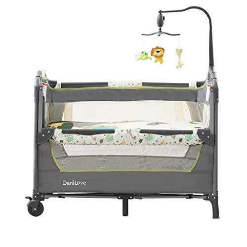 LXJ Cuna para bebé, Cama de Juego Plegable Multifuncional con Ruedas, se Puede conectar a la Cama Grande, para bebés de 0 a 3 años, Gris