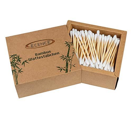 ECENCE Cotons-tiges Bambou 200 pièces 100% Biologique et Recyclable Emballage Durable sans Plastique 7,5 cm pour Enfant Adultes Utilisation Non pelucheuse des Deux côtés 41030101