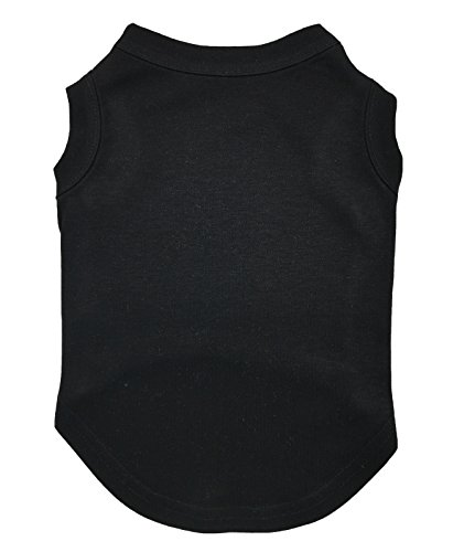 Petitebelle, maglietta per cani e cuccioli, in cotone, nera, tinta unita, maglietta girocollo senza maniche
