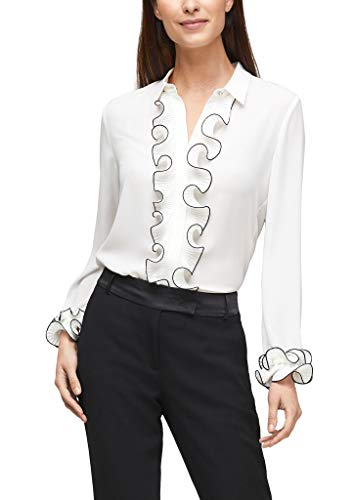 s.Oliver BLACK LABEL Damen Bluse mit plissierten Volants Soft White 48