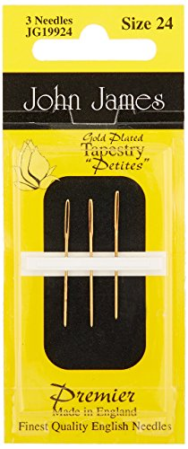 Colonial Needle JG199-24 Gold Tapestry Petites Hand Needles, Size 24, 3-Pack