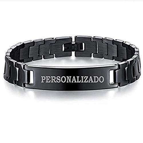 RecontraMago Pulsera Personalizada para Hombre y Mujer - Grabado en Diamante - Pulseras Personalizables de Acero Inoxidable HP y Regalo Nombre Hombre Marido Novio