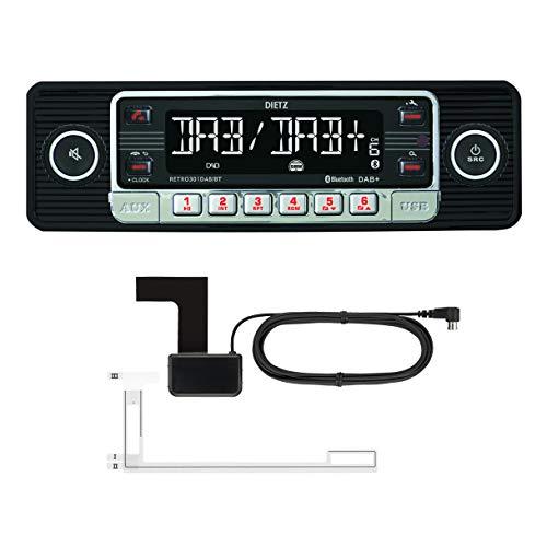 DIETZ Retro 301 DAB/BT Classic/Oltimer Autoradio USB/MP3/BLUETOOTH - Farbe Schwarz - inkl. DAB+ Antenne