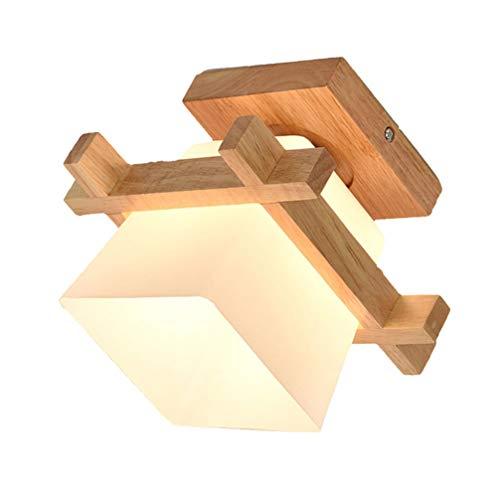SOLUSTRE - Plafón de madera LED empotrado con pantalla de madera para pasillo, pasillo, comedor, dormitorio, balcón, salón (sin bombilla)