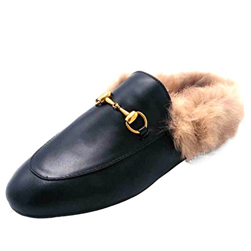 ENMAYER Women's Black Retro Fashion Loafers Round Toe Slip on Flat Outdoor Slippers with Furry and Buckle Black 8.5 B(M) US