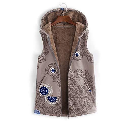 Katenyl Chaleco con capucha estampado retro para mujer Chaleco de talla grande sin mangas con cremallera Chaqueta de bolsillo clida Otoo e invierno S