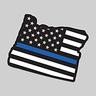 JMM Industries 2-Pack Oregon State Outline American Flag Overlay Thin Blue Line Vinyl Decal Sticker | 5-Inches | Premium Quality Vinyl Decal | Laminated with UV Protective Laminate | PDS2830